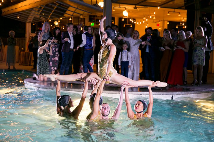 Heidi and Theresa's Palm Springs Wedding with Synchronized Swimmers and A Grace Loves Lace Dress, by Michael Segal - Boho Weddings For the Boho Luxe Bride