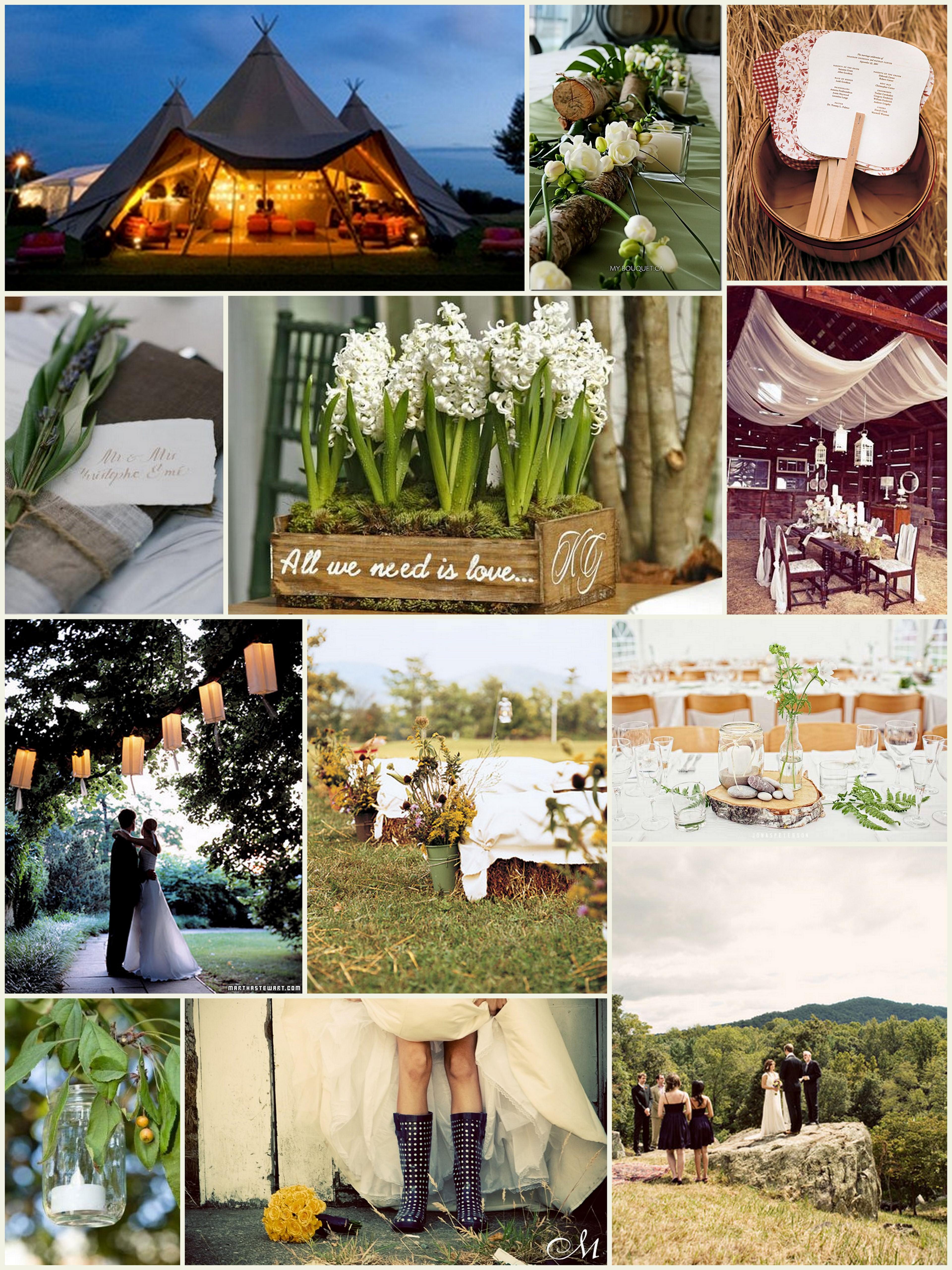 Outdoor wedding inspiration board boho weddings for the for Outdoor wedding theme ideas