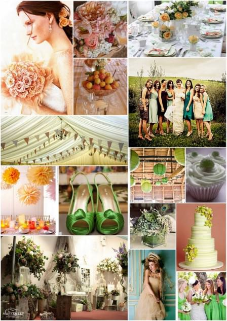 peach and green inspiration board