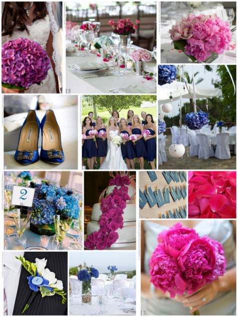 rasberry and navy wedding ideas