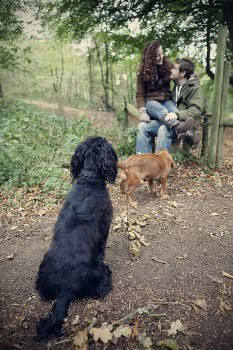 Lauren and Matthew's relaxed woodland engagement shoot (warning cute dog alert)