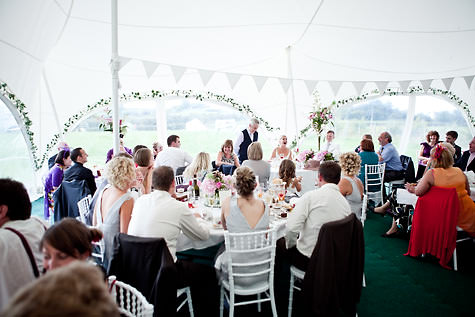 Kirsty and Bens' relaxed and fun garden party wedding with a few wellies 'thown' in!