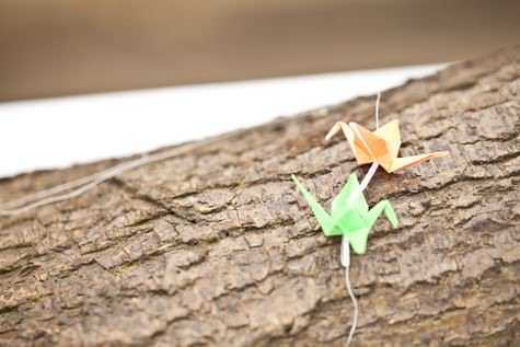 DIY paper cranes backdrop