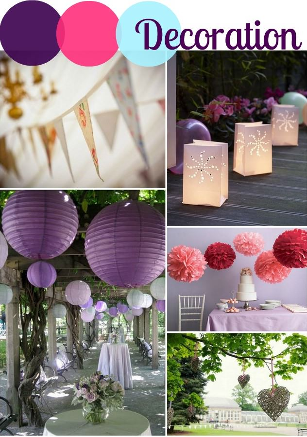 Aubergine, Fuchsia and Pastel Blue Wedding