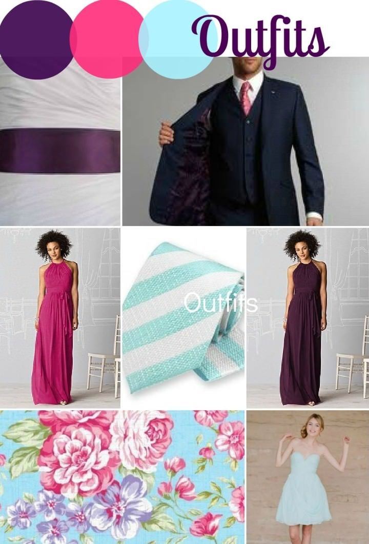 Aubergine, Fuchsia and Pastel Blue Wedding