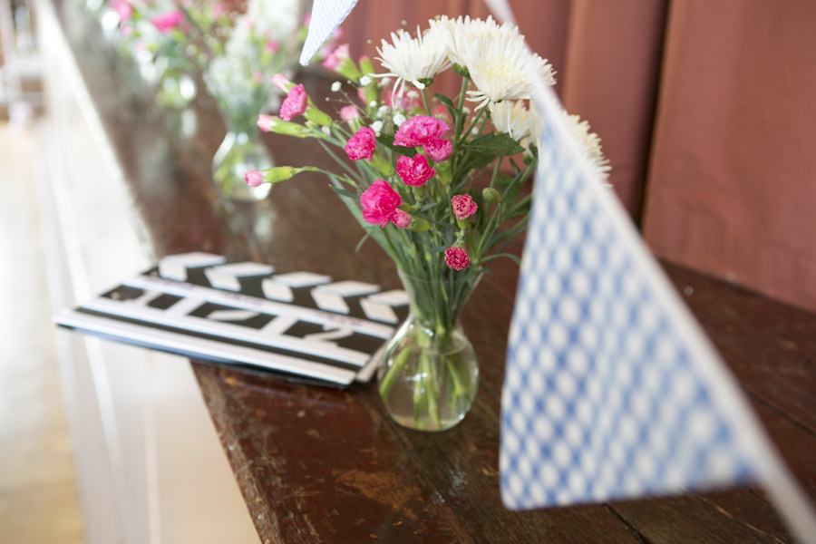 bunting and flowers
