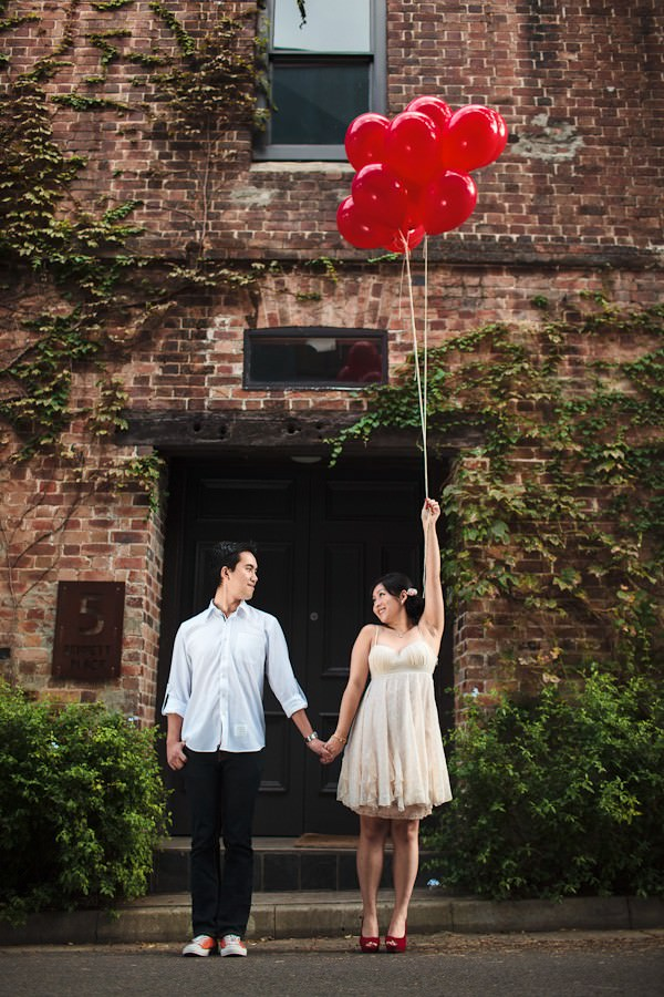 Australian engagement shoot with red balloons