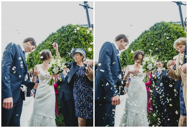wedding couple confetti shot