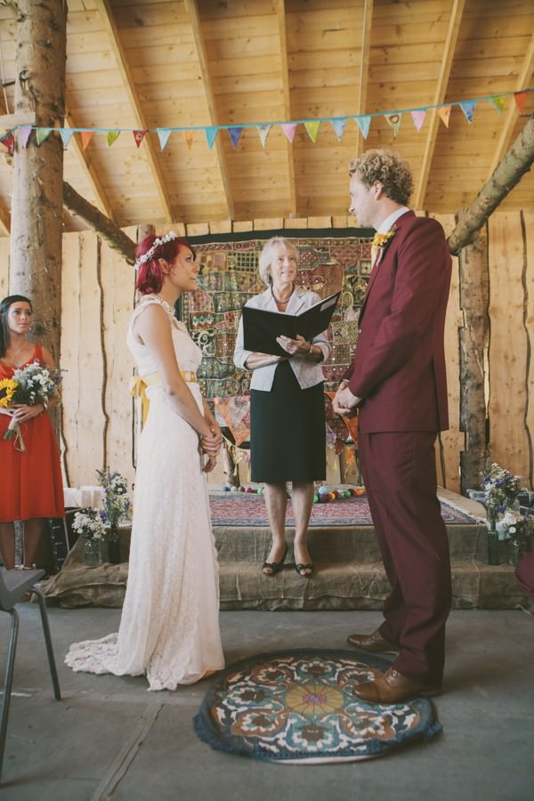 humanist wedding ceremony in a cow shed