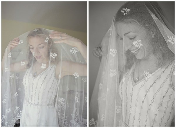 bride in a vintage wedding dress and vintage veil