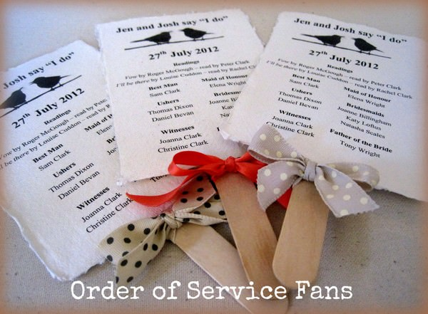 Order of Service Fans