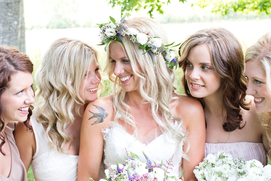 bohemian bride and bridesmaids