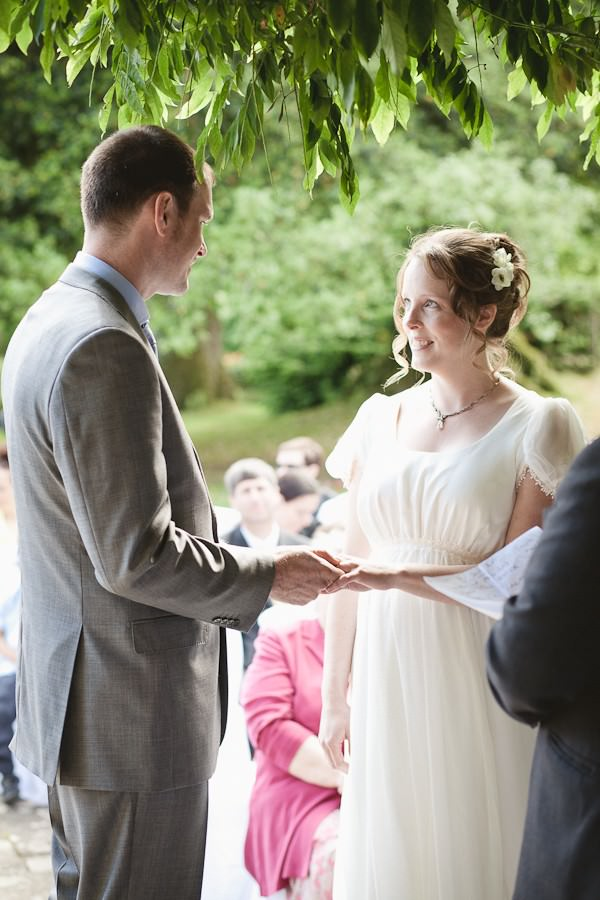 wedding couple at an outdoor wedding ceremony