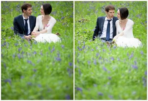 wedding couple in blue bell field