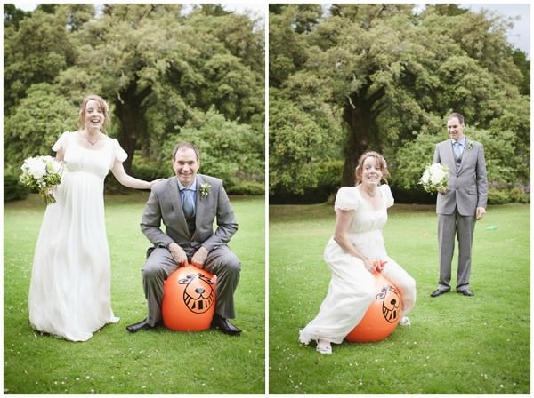 wedding couple on space hoppers
