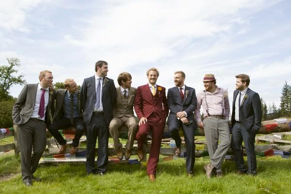 groomsmen at a Scottish farm wedding