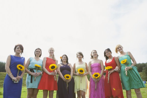 bridesmaids with sunflowers at a Scottish farm wedding