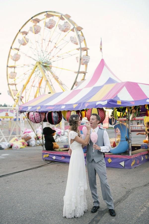 wedding couple at fun fair reception