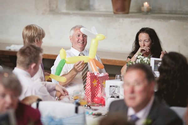 wedding guest with balloons