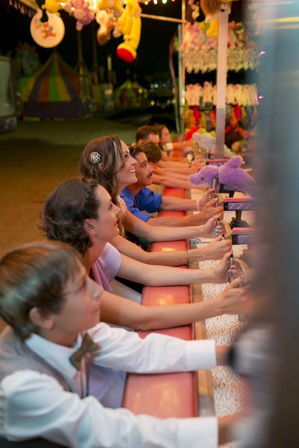 wedding party at a fun fair
