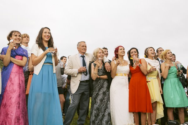 wedding speeches outside of a cow shed