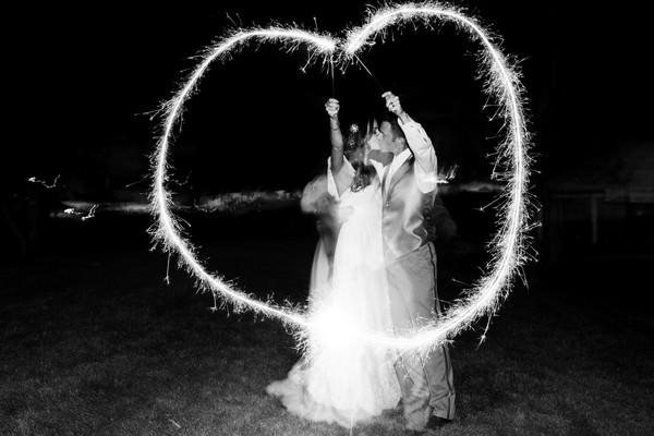 wedding couple with sparkler