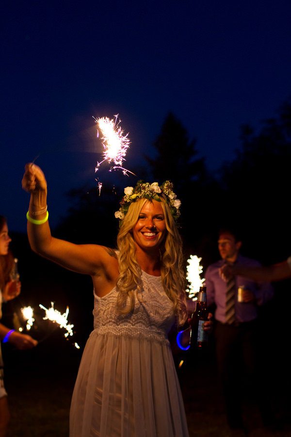 wedding reception with sparklers