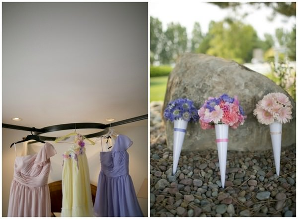 pastel bridesmaids dresses and flowers