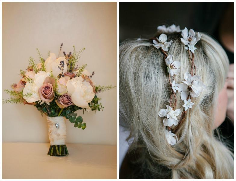 wedding bouquet and wedding hair