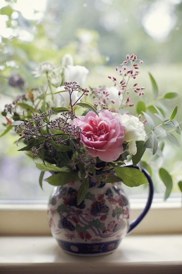 flowers in a vintage jug