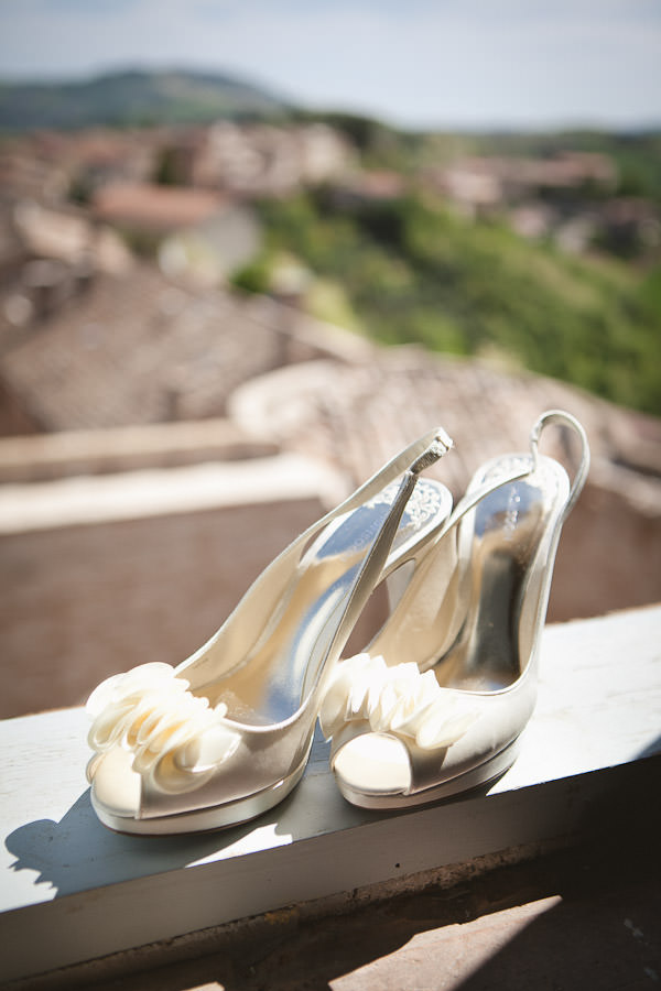 wedding shoes in the sunshine