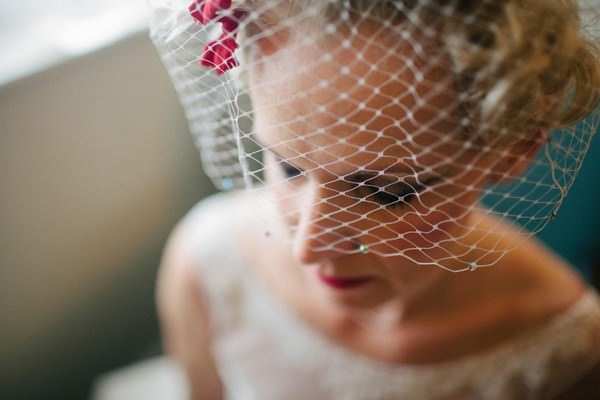 50s bride getting ready