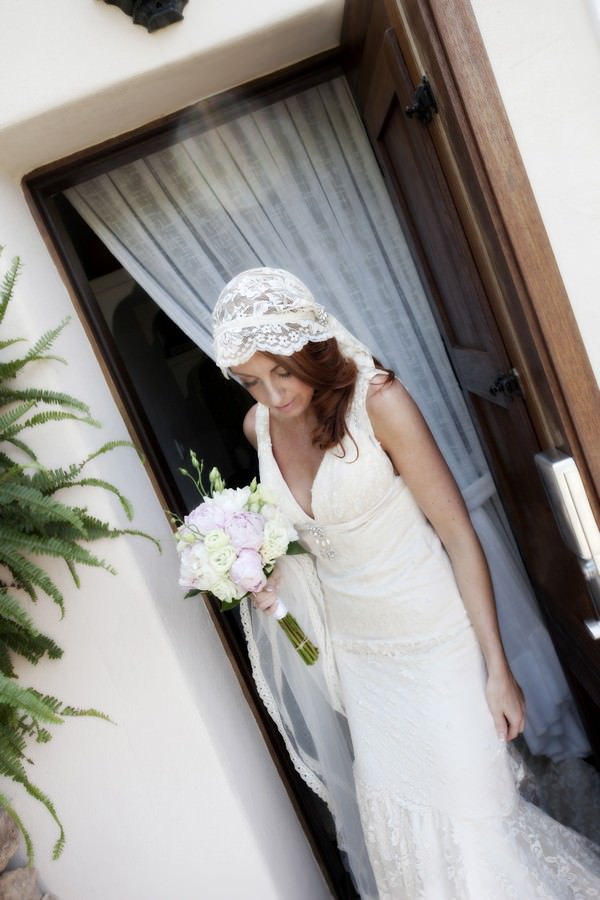 Ibiza bride in Charlotte Balbier dress