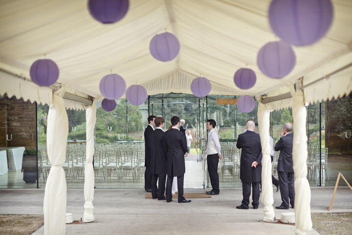 groom and groomsmen and lots of paper lanterns