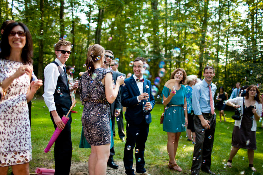 wedding bubbles at an outdoor Ohio wedding