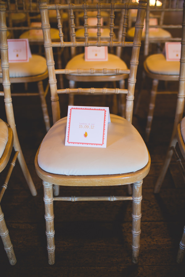 order of service on wedding chair