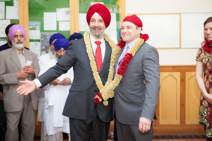 exchange of garlands at  Sikh wedding
