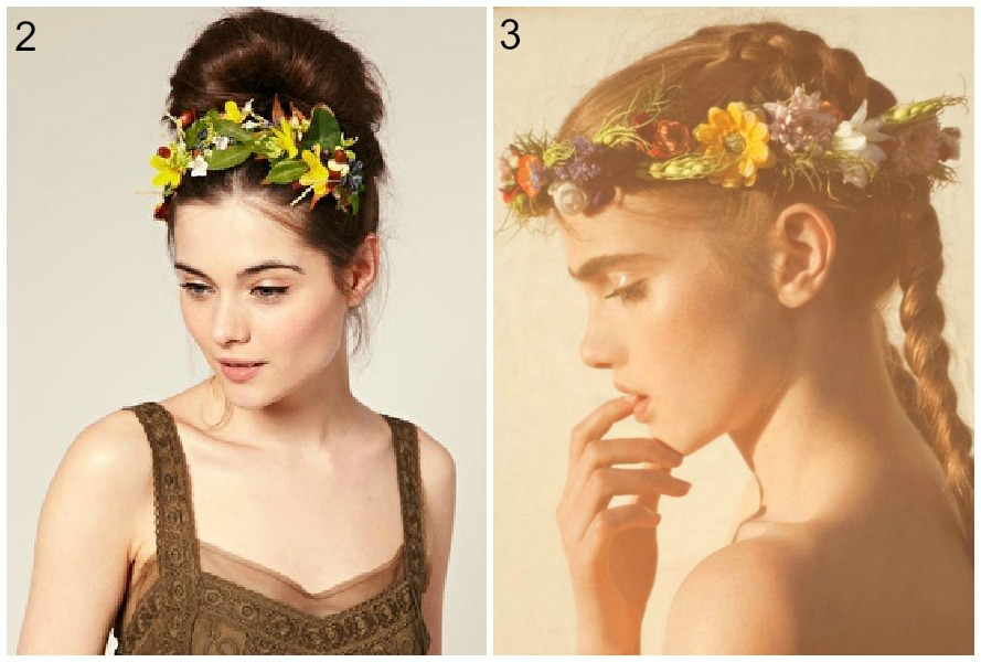 flower crowns with hair up