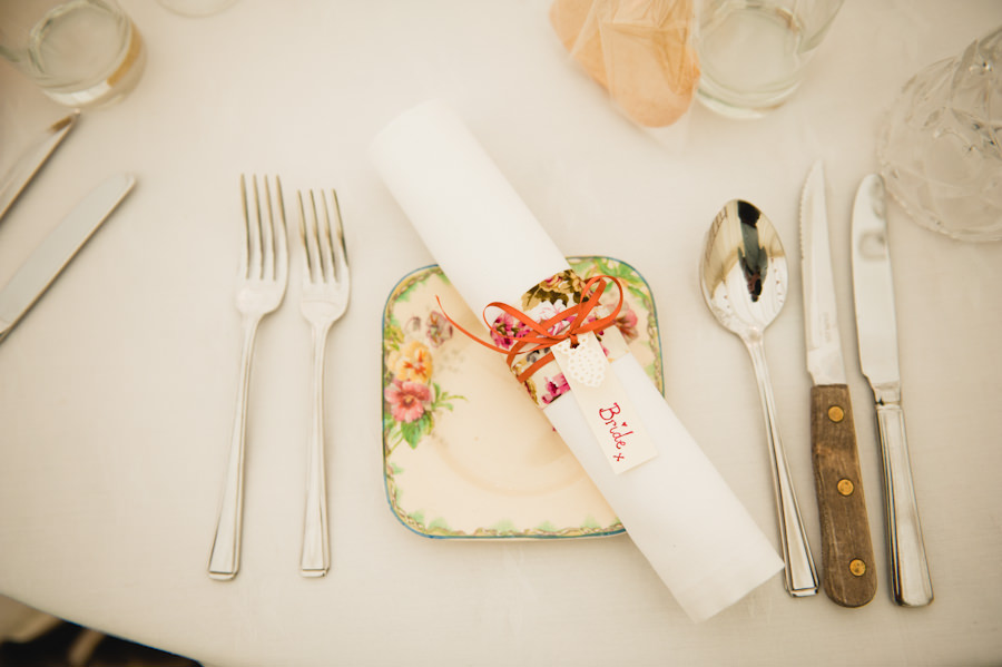 napkin wrapped with floral fabric