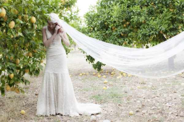 Ibiza bride in a Charlotte Balbier wedding dress