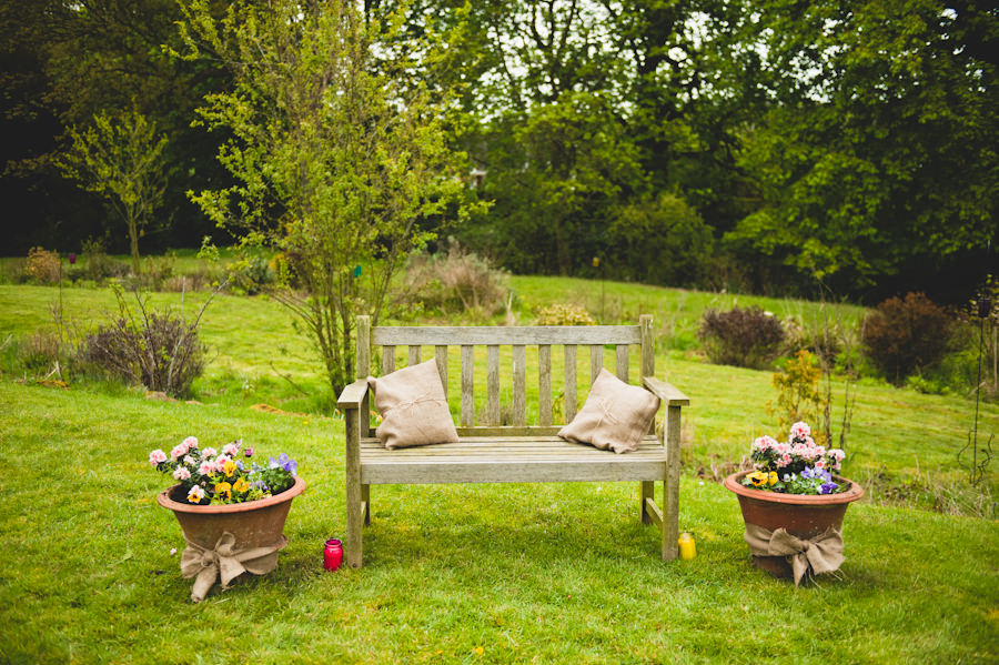 garden chair and flowers