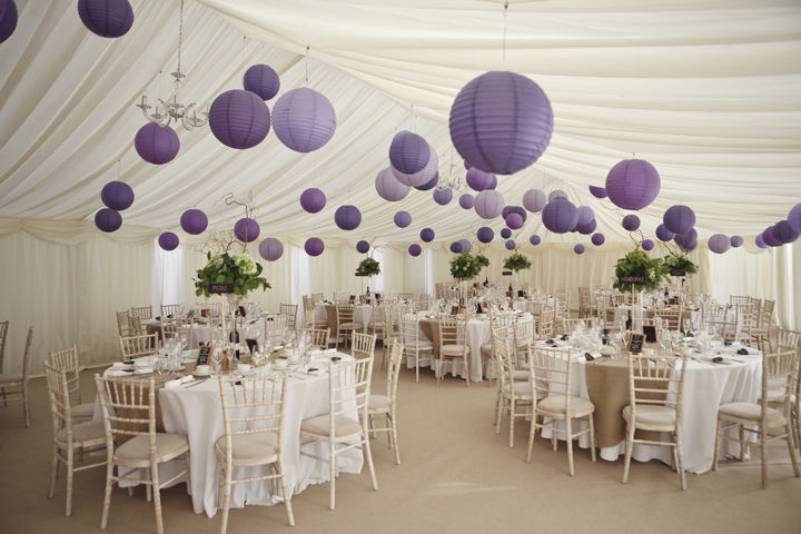 wedding marquee with purple lanterns