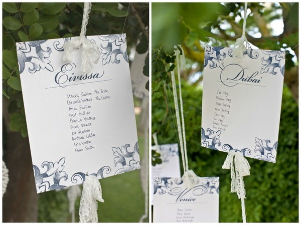 table plan hanging from a tree