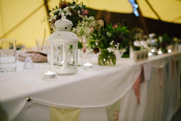 Tipi wedding reception details
