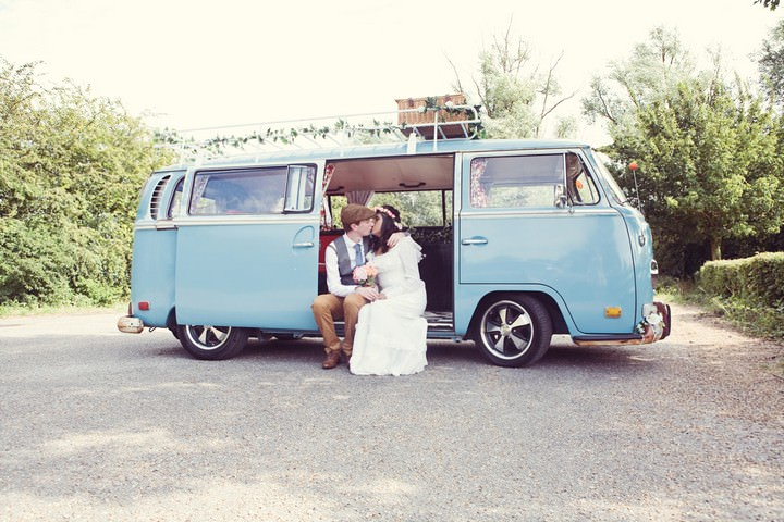 VW Camper van with wedding couple