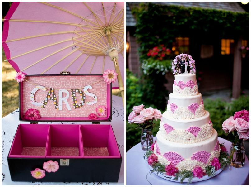 pink wedding cake and pink card box