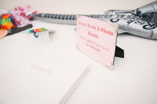 guest book area at wedding