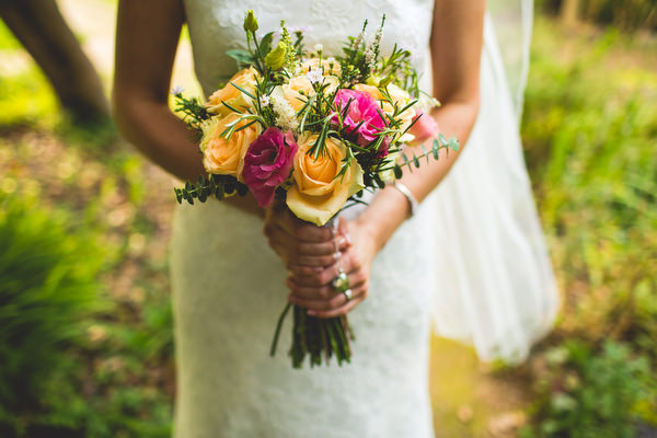 Sheffield bride holding bouquet