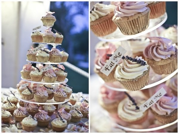 pink and white wedding cup cakes