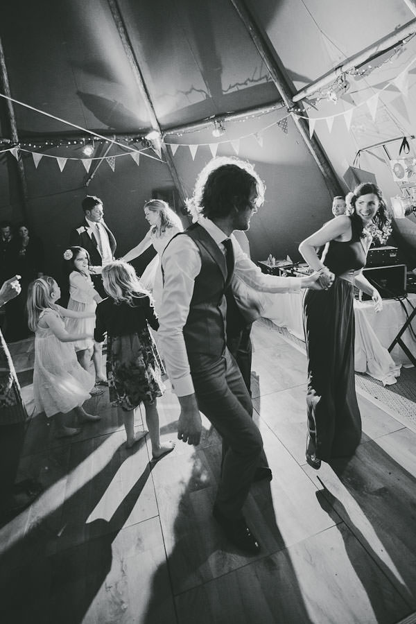 dancing at a tipi wedding reception